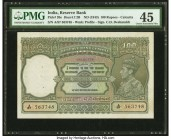 India Reserve Bank of India 100 Rupees ND (1943) Pick 20e Jhun4.7.2B PMG Choice Extremely Fine 45. Staple and spindle holes at issue.   HID09801242017...