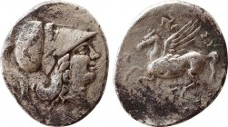SICILY. Syracuse. Agathokles (317-289 BC). Stater. Obv: Helmeted head of Athena right, helmet decorated with griffin. Rev: ΣΥΡΑΚΟΣΙΩΝ. Pegasos flying ...