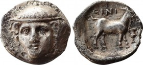 THRACE. Ainos. AR Diobol. Circa 390/89-388/7 BC. Obv: Head of Hermes facing slightly left, wearing petasos. Rev: Goat standing to right; AINI above, k...