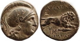KINGS OF THRACE (Macedonian). Lysimachos (305-281 BC). Ae Unit. Lysimacheia. Obv: Helmeted head of Athena right. Rev: ΒΑΣΙΛΕΩΣ / ΛΥΣΙΜΑΧΟΥ. Lion leapi...