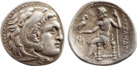 KINGS OF MACEDON. Alexander III 'the Great' (336-323 BC). Drachm. Miletos. Obv: Head of Herakles right, wearing lion skin. Rev: AΛEΞANΔPOY. Zeus seate...
