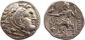 KINGS OF MACEDON. Alexander III 'the Great' (336-323 BC). Drachm. Chios. Obv: Head of Herakles right, wearing lion skin. Rev: AΛΕΞΑΝΔΡΟΥ. Zeus seated ...