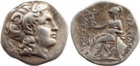 KINGS OF THRACE. Lysimachos (305-281 BC). Drachm. Ephesos. Obv: Head of the deified Alexander with horn of Ammon right. Rev: Athena seated left, holdi...