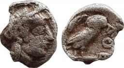 ATTICA. Athens. Obol (Circa 454-404 BC). Obv: Helmeted head of Athena right. Rev: AΘE. Owl standing right, head facing; olive sprig and crescent to le...