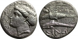 PAPHLAGONIA, Sinope AR Persic Drachm. Circa 330-300 BC. Agreos-, magistrate. Head of nymph Sinope left, wearing triple-pendant earring, necklace and s...