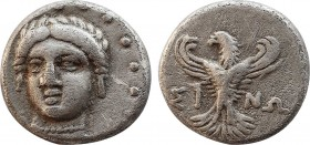 PAPHLAGONIA. Sinope. AR Trihemiobol. Circa 330-300 BC. Obv: Head of nymph Sinope three-quarters facing, turned slightly to left. Rev: Eagle standing f...