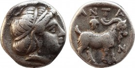 TROAS. Antandros. Diobol (5th century BC). Obv: Head of Artemis Astyrene right, wearing taenia. Rev: ANTA / N. Goat standing right within incuse squar...
