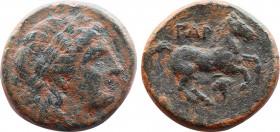 TROAS. Gargara. Ae (Circa late 3rd - early 2nd century BC). Obv: Laureate head of Apollo right. Rev: ΓAP. Horse prancing right. Control: grape below. ...
