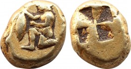 MYSIA. Kyzikos EL Hemihekte - 1/12 Stater. (Circa 500-450 BC).Obv: Satyr in kneeling-running stance to left, holding in his extended right hand a tunn...