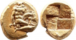 MYSIA. Kyzikos. EL Hekte (5th-4th centuries BC). Obv: Perseus crouching right, head left, holding harpa and head of Medusa; below, tunny left. Rev: Qu...