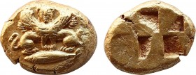 MYSIA. Kyzikos. (Circa 550-450 BC). 1/12 Stater. Obv: Double-bodied sphinx, with one head facing, wearing ouraios, atop a tunny left. Rev: Quadriparti...