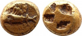 MYSIA. Kyzikos. EL Hekte (Circa 600-550 BC). Obv: Tunny left with wing of griffin above. Rev: Quadripartite incuse square. Cf. Nomisma VII 33 (stater ...