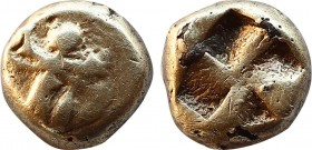 MYSIA. Kyzikos. Circa 550-500 BC. Fourree Hemihekte – 1/12 Stater. Obv: Forepart of a lion to left, looking back; behind, tunny downward. Rev: Quadrip...