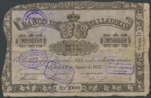 1000 Reais. August 1, 1857. Bank of Valladolid. Series D. (Edifil 2017: 134). VF.