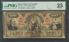 100 Pesetas. July 1, 1876. Banknote with the two matrices and printed by the American Bank Note. No serie. (Edifil 2017: 267, Filabo: 53, Ruiz Alentor...