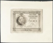 500 pesetas. January 25, 1925. Proof of the obverse in black of a banknote not issued. Rare. UNC.