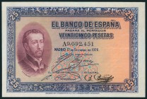 25 Pesetas. October 12, 1926. Series A. (Edifil 2017: 325a). It preserves practically all its original size. AU.