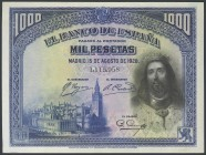 1000 Pesetas. August 15, 1928. Without series. (Edifil 2017: 357). It retains part of the original size. AU.