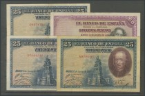 Set of 4 banknotes of the Bank of Spain, 3 of 25 Pesetas issued on August 15, 1928 (Edifil 2017: 336) and 50 Pesetas issued on August 15, 1928 (Edifil...