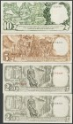 Complete series. 2\u00b450 Cents numeration in black, 2\u00b450 Cents numeration in red, 5 Pesetas and 10 Pesetas. September 25, 1936. Series A (2), B...