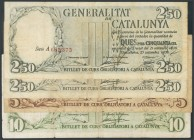 Complete series of the 4 banknotes of the Generalitat de Catalunya. 2\u00b450 Pesetas (including the numbering in red and black), 5 Pesetas and 10 Pes...