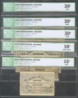 Set of 5 Bank of Spain banknotes issued at the Santander branch corresponding to the values of 5 Pesetas, 10 Pesetas, 25 Pesetas, 50 Pesetas and 100 P...