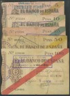 Complete series of the Bank of Spain, Gij\u00f3n branch issued on November 5, 1936, which includes the 5 Pesetas, 10 Pesetas, 25 Pesetas, 50 Pesetas a...