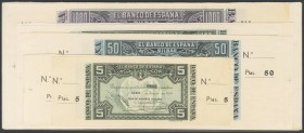 Set of 13 banknotes from the Banco de Bilbao, issued on January 1, 1937 of 5 Pesetas without series (2), 5 Pesetas series A (3), 50 Pesetas (2), 100 P...