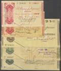 Complete series of 5 Banknotes from the Banco de Bilbao, issued on August 30, 1936 of 5 Pesetas (without series and series A), 25 Pesetas, 50 Pesetas ...
