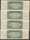 Set of 4 banknotes of 5 Pesetas issued by the Bank of Spain in the Bilbao branch on January 1, 1937, including the 4 known ante-signatures, without se...