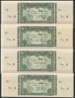 Set of 4 banknotes of 5 Pesetas issued by the Bank of Spain in the Bilbao branch on January 1, 1937, including the 4 known ante-signatures, with serie...