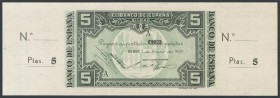 5 Pesetas. January 1, 1937. Bilbao branch, signed by Banco Hispano Americano. Series A and without numbering, with both matrices. (Edifil 2017: 386a)....