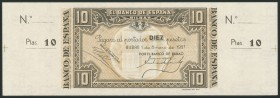 10 pesetas. January 1, 1937. Bilbao branch, signed by Banco de Bilbao. Without series and without numbering, with both matrices. (Edifil 2017: 387a). ...