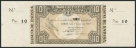 10 pesetas. January 1, 1937. Bilbao branch, signed by Banco de Vizcaya. Without series and without numbering, with both matrices. (Edifil 2017: 387b)....