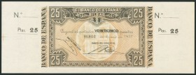 25 Pesetas. January 1, 1937. Bilbao branch, signed by Banco del Comercio. Without series and without numbering, with both matrices. (Edifil 2017: 388b...