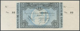 50 Pesetas. January 1, 1937. Bilbao branch, signed by Banco de Bilbao. Without series and without numbering, with both matrices. (Edifil 2017: 389a). ...