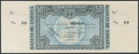 50 Pesetas. January 1, 1937. Bilbao branch, signed by Banco de Vizcaya. Without series and without numbering, with both matrices. (Edifil 2017: 389b)....