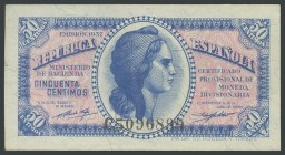 50 Cents. 1937. Series C, last series issued. (Edifil 2017: 391a). UNC.
