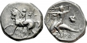 CALABRIA. Tarentum. Didrachm (Circa 281-240 BC). Sy- and Lykinos, magistrates. 