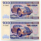 Czechoslovakia Lot of 2 Banknotes 2019 Specimen PB,RK 000000