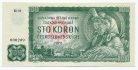 "Czechoslovakia 100 Korun 2020 Specimen ""COVID-19 ""