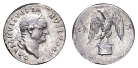 ROMAN EMPIRE. Vespasian, 69-79. AG Denarius, 2.82 g. Laureate head right, eagle standing. Reverse scratch, otherwise nearly extremely fine. RIC II 872