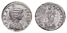 ROMAN EMPIRE. Julia Domna, before 217. AG Denarius, 2.65 g. Mint state with good lustre, some weakness on reverse legend.