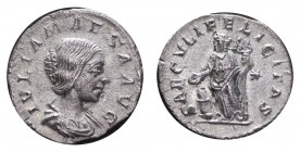 ROMAN EMPIRE. Julia Mamaea, 235. AG Denarius, 2.82 g. Slightly porous metal, extremely fine.
