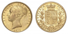 AUSTRALIA. Victoria, 1837-1901. Gold Sovereign 1872-M, Melbourne. Shield. 7.99 g. Mintage 748,180. Marsh 59; S.3854. A scarce date with low mintage. E...