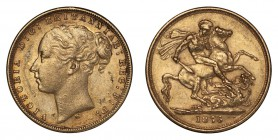 AUSTRALIA. Victoria, 1837-1901. Gold Sovereign 1876-M, Melbourne. Young Head. 7.99 g. Good very fine-About extremely fine.