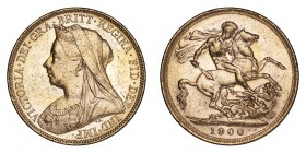 AUSTRALIA. Victoria, 1837-1901. Gold Sovereign 1900-M, Melbourne. Veiled Head. 7.99 g. Extremely fine-Uncirculated.