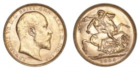 AUSTRALIA. Victoria, 1837-1901. Gold Sovereign 1908-P, Perth. 7.99 g. Uncirculated.