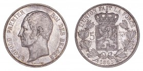 BELGIUM. Leopold, 1831-1865. 5 Francs 1865, Brussels. 25 g. Mintage 907,360. KM# 17, LA# BFM-126. F without stop in value. Extremely fine, lustrous.