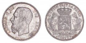 BELGIUM. Leopold II, 1865-1909. 5 Francs 1873, Brussels. 25 g. Mintage 22,340,959. KM# 24. Near Uncirculated, toned.